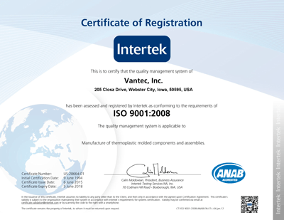Vantec Inc ISO Certified